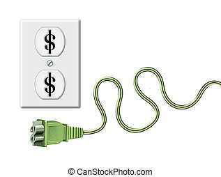 Money Outlet - Illustration of an electrical outlet ad cord...
