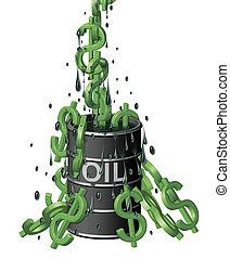 Oil Barrel of Dollars - Illustration of dollar symbols like...