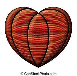 Jailed Basketball - Digital illustration of a heart-shaped...