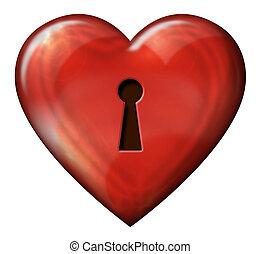 Heart Lock - Digital illustration of heart shaped lock.
