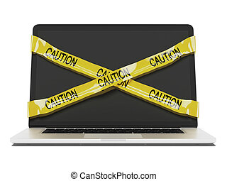 Laptop computer with yellow caution tape