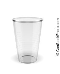 recyclable plastic cup isolated on a white background. 3d...