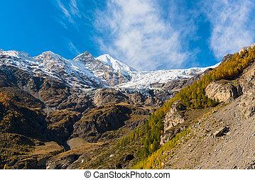 Alpine hills in snow