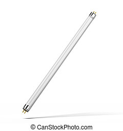 Fluorescent tube lamp isolated on a white background 3d...