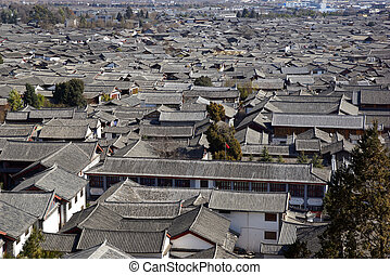 Ancient roof in Lijiang, Yunnan - Ancient roof in Lijiang...