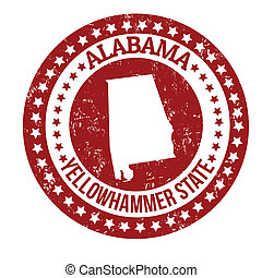 Alabama stamp - Vintage stamp with text Yellowhammer State...