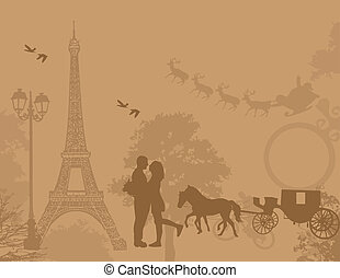 Carriage and lovers in Paris