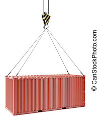Crane and red container isolated on a white background. 3d...