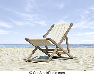 Chaise longue on beach. 3d render