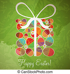 Easter card template - gift box from eggs