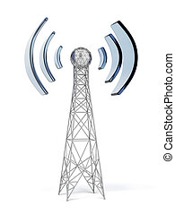 Communication antenna isolated on a white background. 3d...
