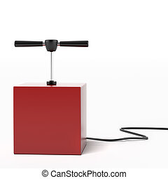 explosive detonator isolated on a white background 3d render...