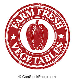 Pepper vegetable stamp or label - Pepper vegetable grunge...