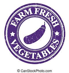 Eggplant vegetable stamp or label