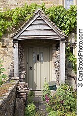 Cottage door with flowers