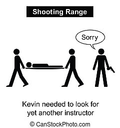 Shooting Range - Kevin was not a good shot cartoon isolated...
