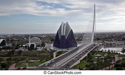City of Art and Siences in cloudy day, Valencia, Spain -...