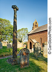 Gosforth ancient Viking Cross - Gosforth wheel head cross,...