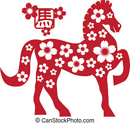 2014 Chinese Horse with Flower Motif Illusrtation - 2014...