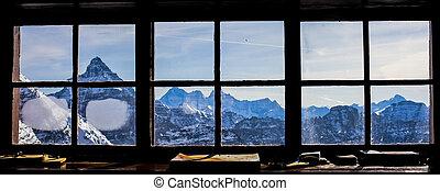 ventana, vista, Montaña, cabaña