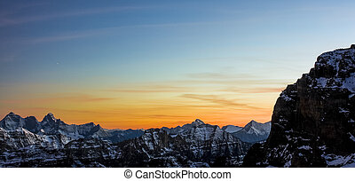Sunset view of the Mountain Ranges in British Columbia