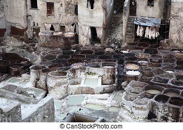 leather dyeing in Fes
