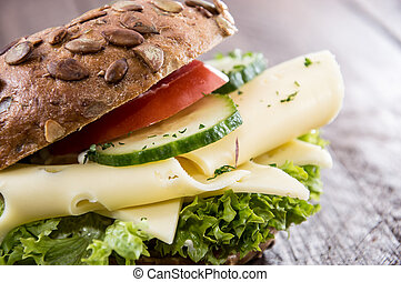 Cheese Sandwich on wooden background