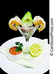 Shrimp Cocktail Appetizer in a Restaurant