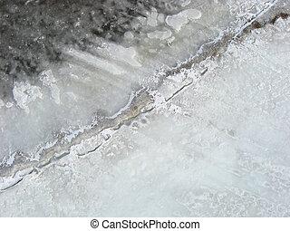 Aerial winter shoreline.
