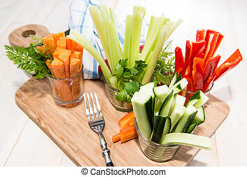 Mixed Vegetables Celery, Cucumber, Red Pepper and Carrots in...