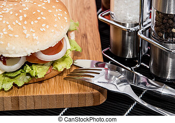 Burger on a cutting board