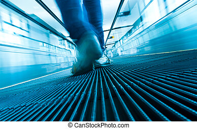 foot step movement of abstract escalator - Mans foot step...