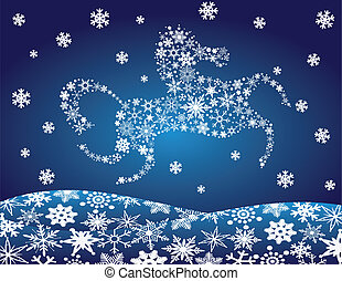 2014 Chinese Horse Leaping Over Snowflakes Illustration