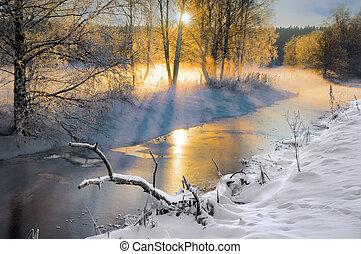 pequeño, río, invierno