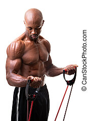 Resistance Band Training - Ripped body builder working out...