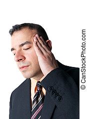 Stress Headache - Stressed out business man isolated over a...