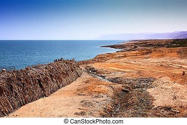 muerto, mar, paisaje