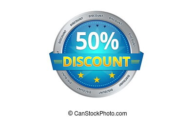 50 percent Discount - Blue Animated 50 percent discount icon