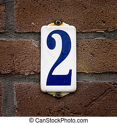 Number 2 - enameled house number two, Blue lettering on a...