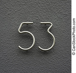 Number 53 - house number fifty three made out of bent...