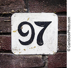 Number 97 - hand painted house number ninety seven. Black...