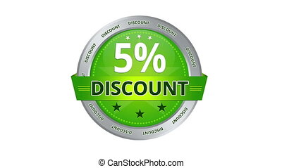 5 percent discount - Green Animated 5 percent discount icon