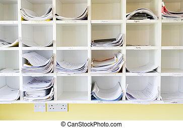 parede,  cubbyholes, escritório