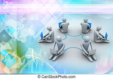 3d illustration of people working