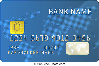 Bank card - Realistic blue bank card with a chip EPS10...
