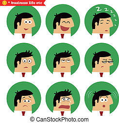 Business facial emotions, isolated icons set vector...