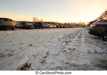 parking lot on a meadow in the winter