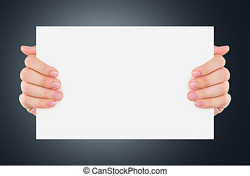 Hand Holding Blank Board - Hand holding and showing blank,...