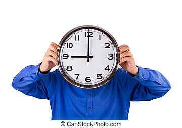 Time to Work - Time to work, businessman holding clock,...