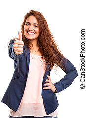Ok concept - Beautiful young woman signaling ok, isolated...